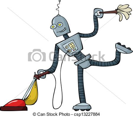 Robot clipart tired Of of cartoon Vector Clipart