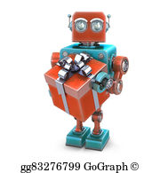 Robot clipart vintage toy Isolated Vintage Contains Happy Drawing