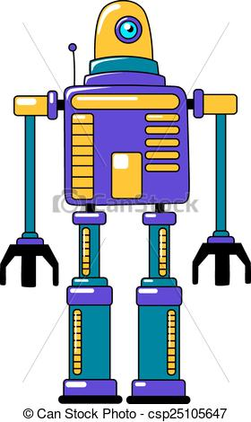 Robot clipart vintage toy Style Colorful Clipart or yellow