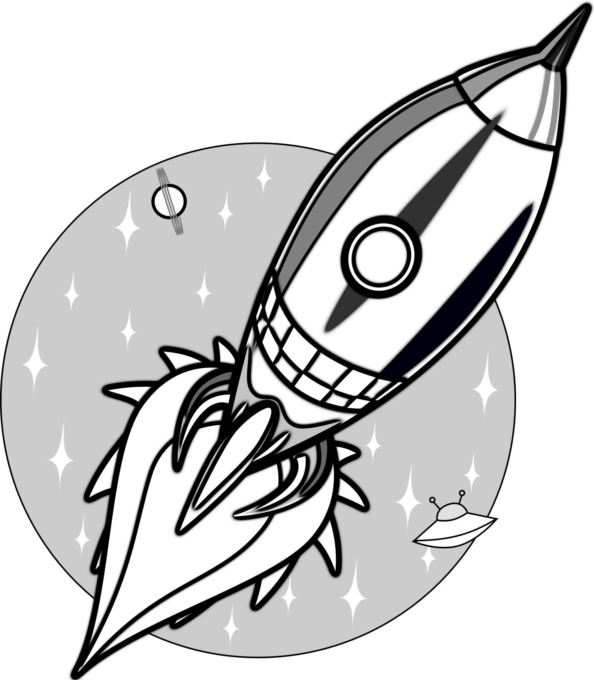 Rocket clipart black and white Clipart Black Images White Art
