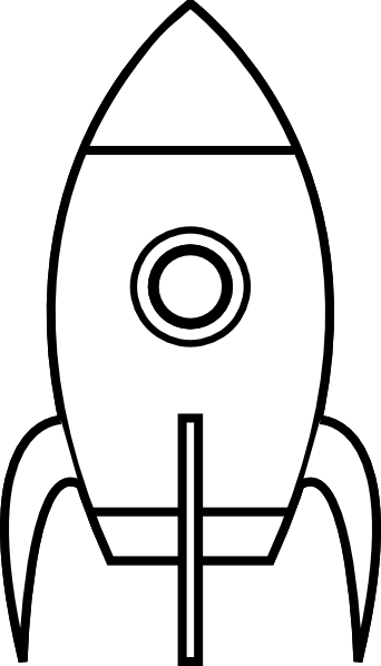 Rocket clipart black and white At Black Clker White art