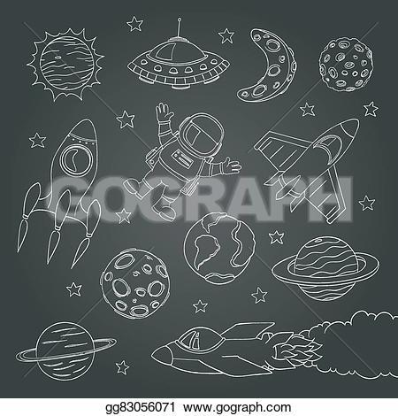 Rocket clipart chalkboard Vector Stock Illustration cute lines