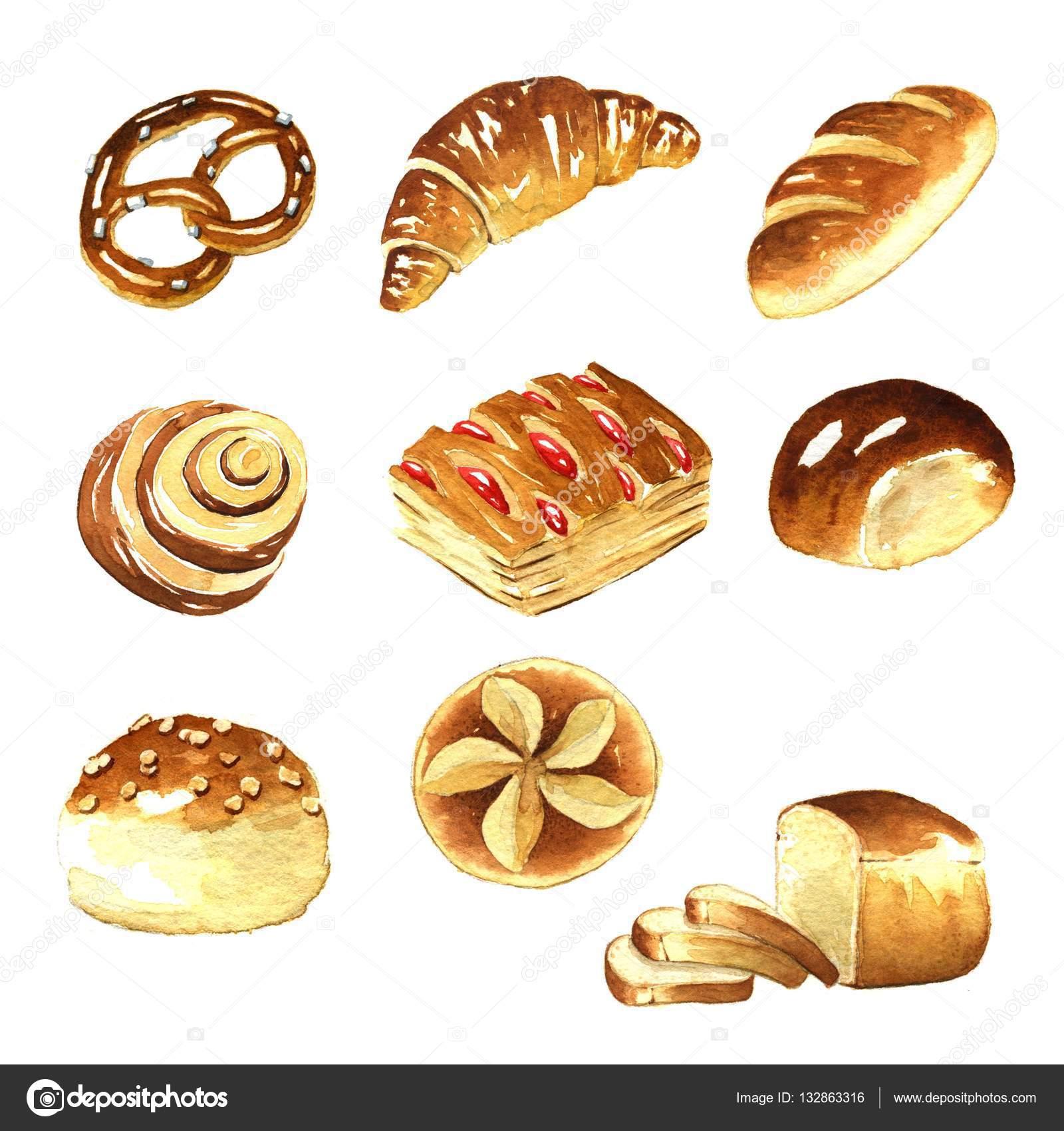 Rolls clipart baking bread Jara3000 Photo #132863316 Watercolor Stock