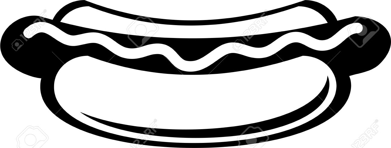 Hot Dog clipart black and white Clipart hot Stock dog and
