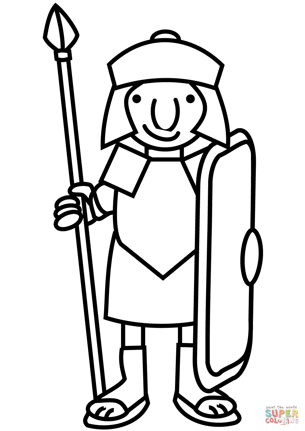 Roman Warriors clipart black and white Cartoon Coloring Soldier Soldier the