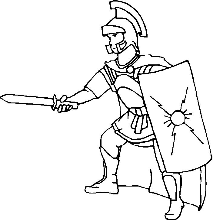 Roman Warriors clipart black and white Roman  – Soldier Coloring