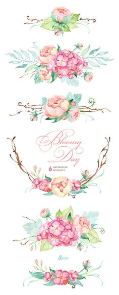 Romance clipart simple rose Watercolor hydrangea Romantic Bloomy and