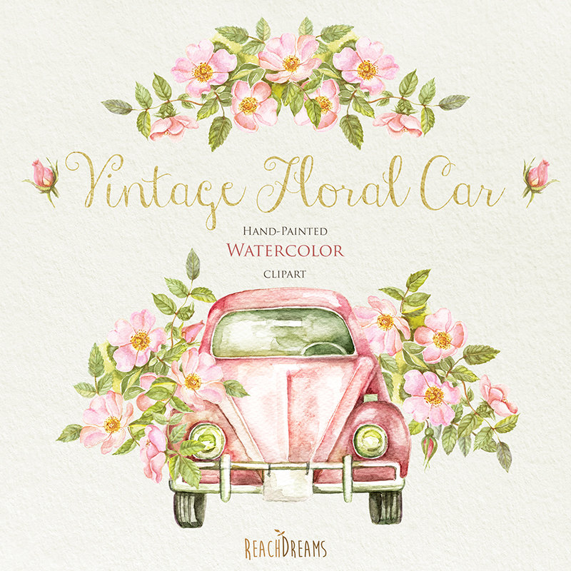Vintage Flower clipart rustic flower Rustic Roses greeting Wedding invite