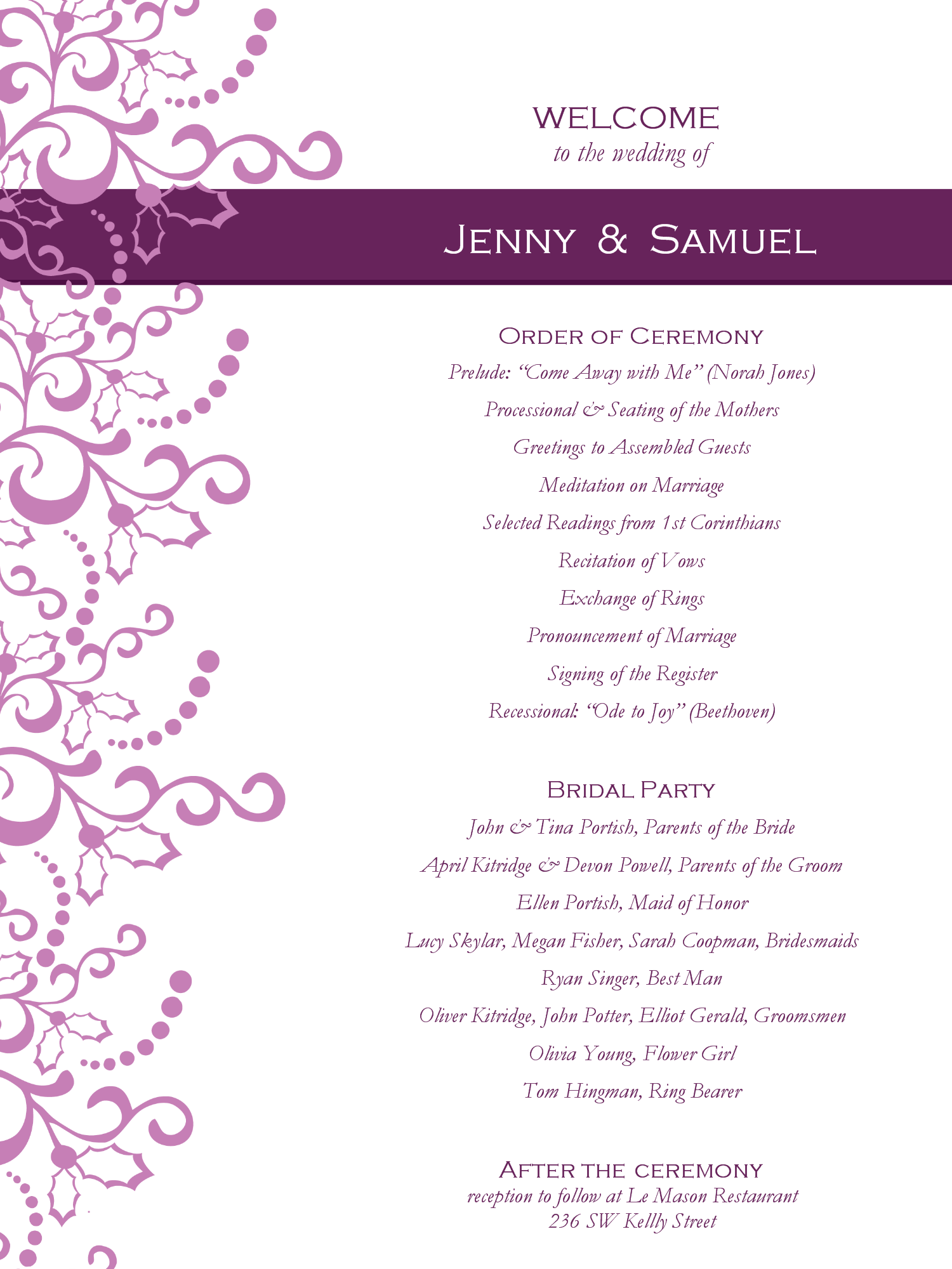 Romance clipart wedding program #4
