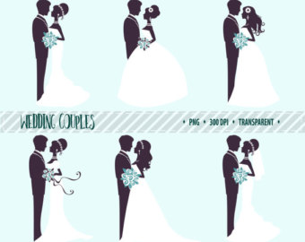 Wedding Dress clipart bride and groom silhouette Clip art Silhouettes clipart digital