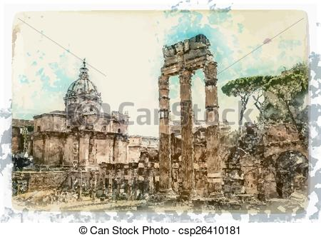 Rome clipart ancient ruin  painting Rome Rome of