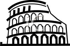 Colosseum clipart black and white White and Coliseum Roman Clipart
