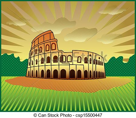 Colosseum clipart roman gladiator  landscape with Roman of