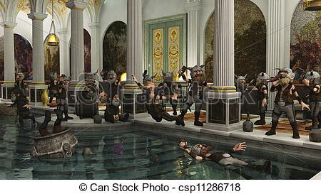 Rome clipart public baths Plombieres Stock House; Bath Illustration