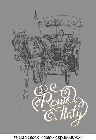 Rome clipart wagon Lettering of lettering inscription Rome