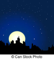 Rooftop clipart houston skyline Night rooftops Rooftops moon royalty