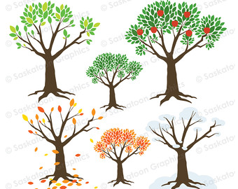 Roots clipart cute plant Seasons Nature Tree Cute Etsy