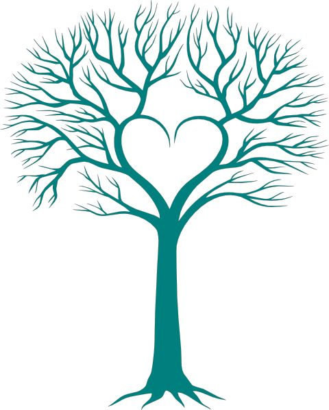 Roots clipart cute plant Tree Heart with Silhouettes on
