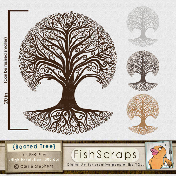 Roots clipart rooted tree Whimsical Decorative ClipArt Whimsical Rooted