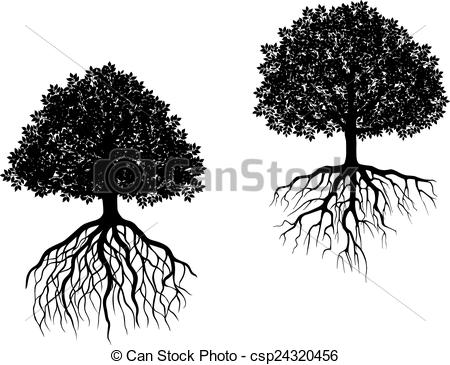 Roots clipart tree illustration Of white Black Vector roots