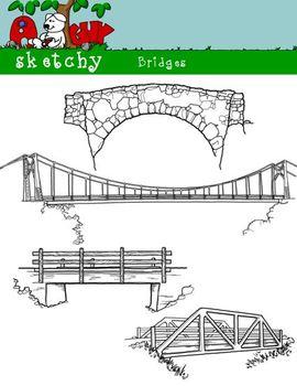 Rope Bridge clipart beam bridge Clip / PNG/ and Black