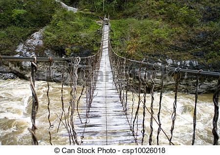 Rope Bridge clipart water #1