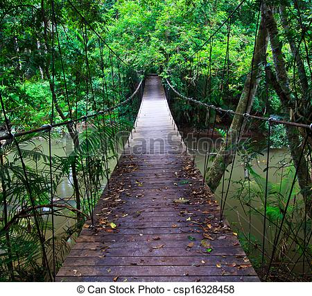 Rope Bridge clipart water #5