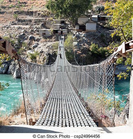 Rope Bridge clipart water #3