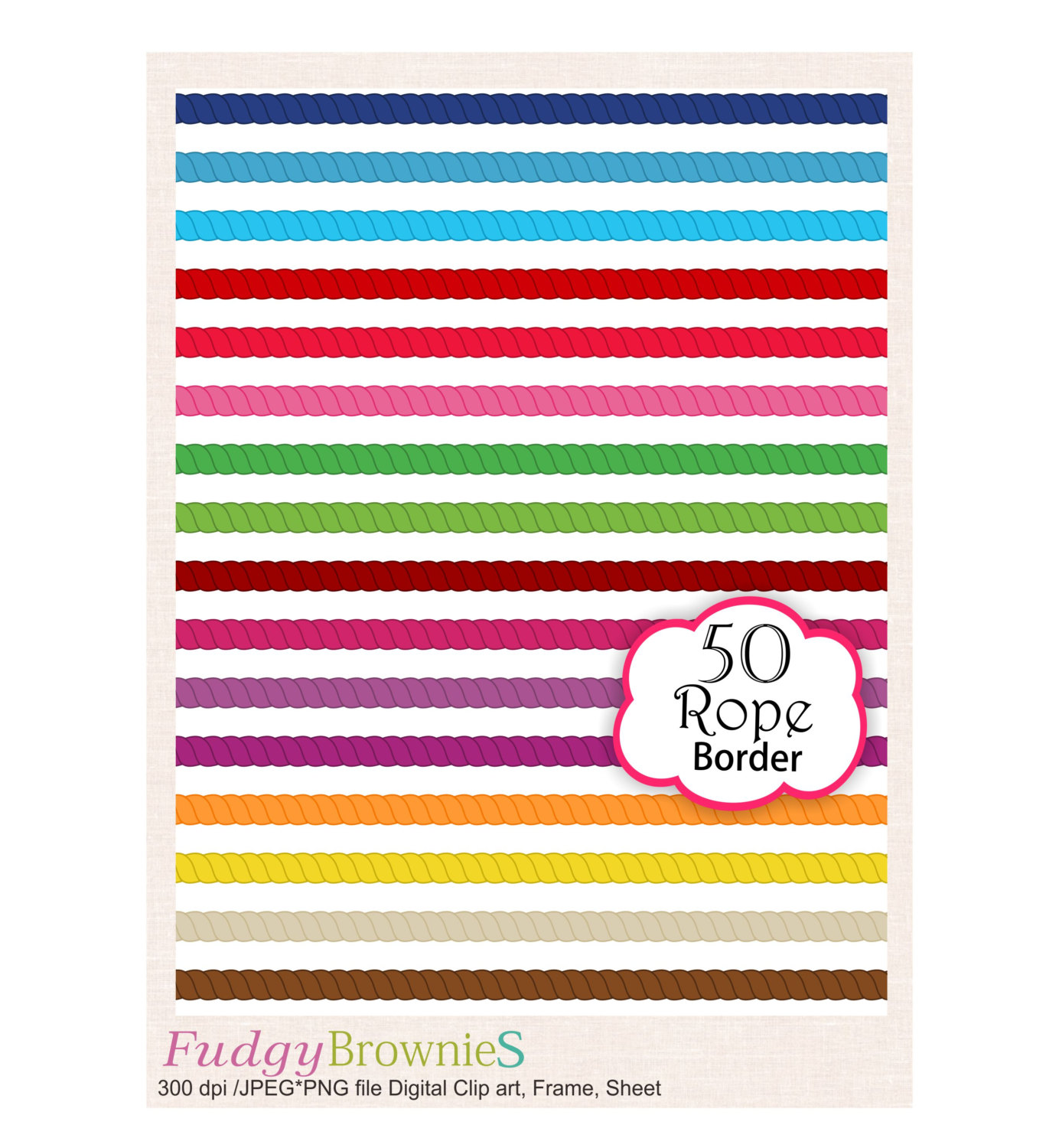 Rope clipart simple color border #13