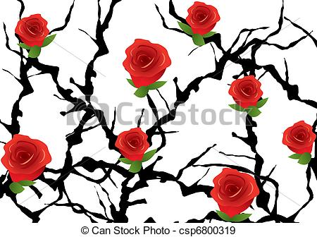 Drawn rose bush illustration Roses vector vector with