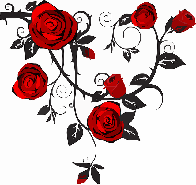 Drawn rose bush rose vine Thorns on  Red Image