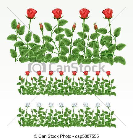 Drawn rose bush border Of Border csp5887555 red Vector