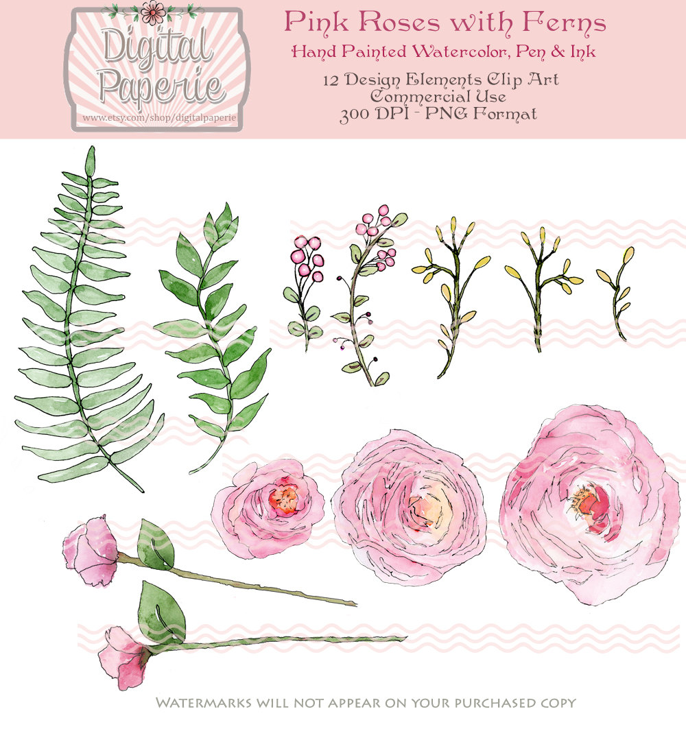 Rose clipart pen and ink #7