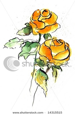 Rose clipart pen and ink #13
