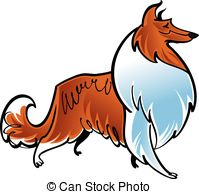Rough Collie clipart red #2