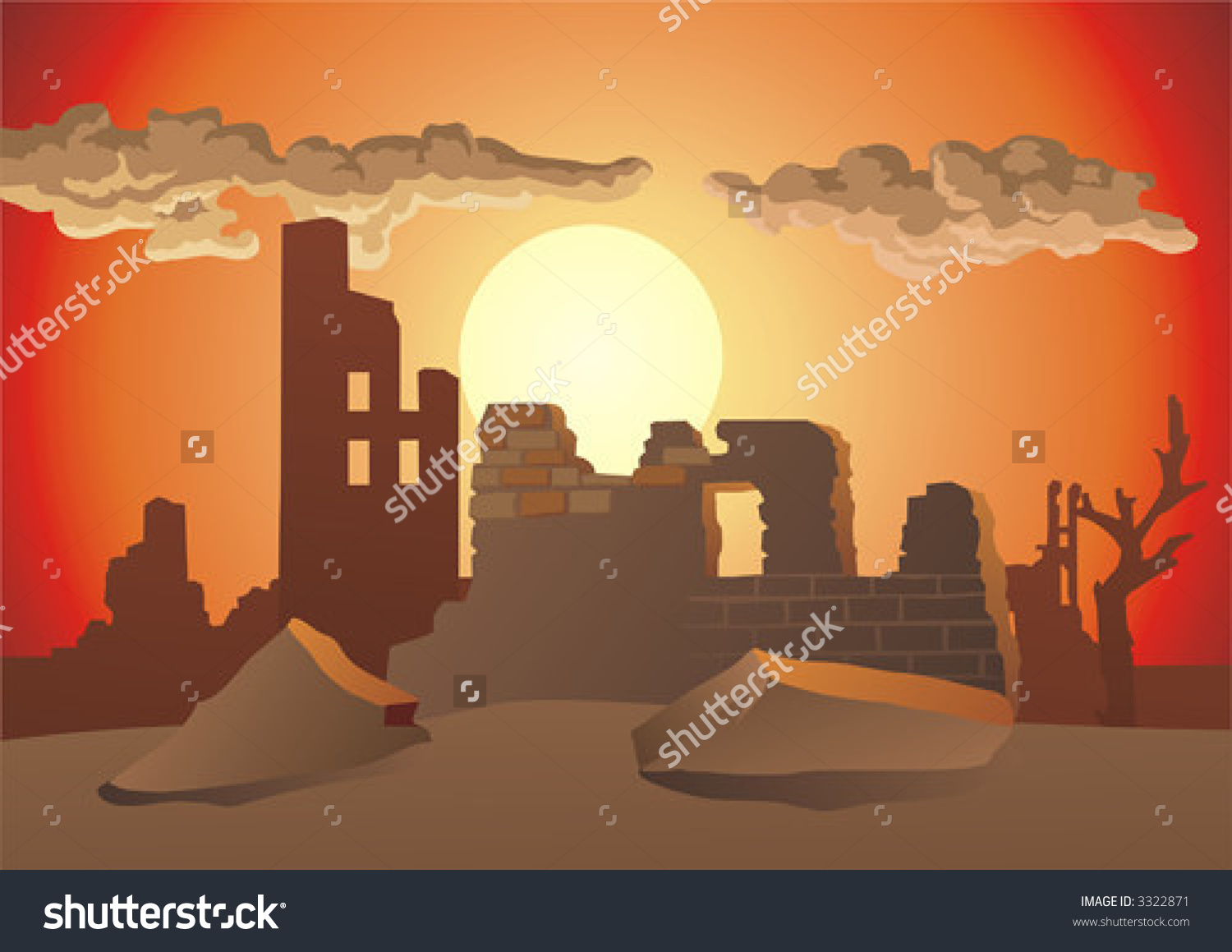 Ruin clipart destroyed city Ruined Art Clip City City
