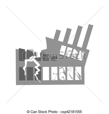 Disaster clipart destroyed house Cracks  building of facility