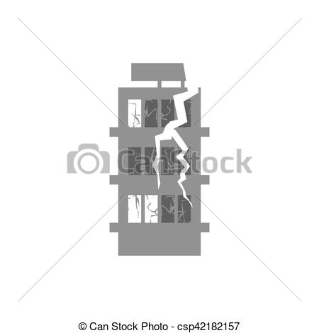 Disaster clipart destroyed house Vector  building of Cracks