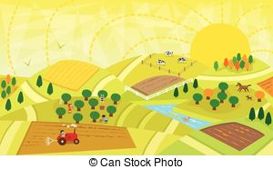 Rural clipart agriculture farming Fence Vector  with landscape