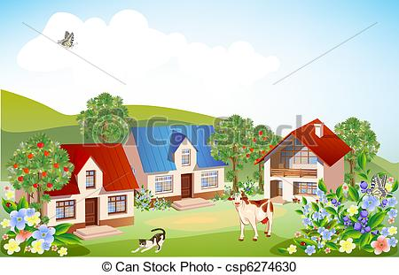Rural clipart ranch Illustrations Stock  summer landscape