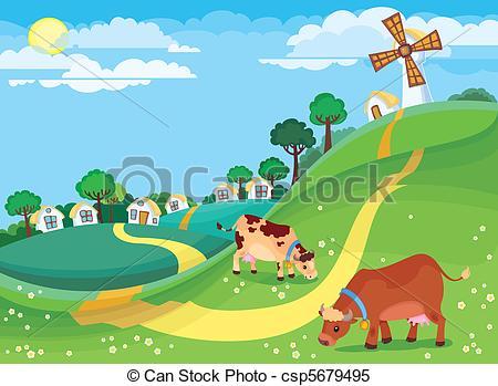 Rural clipart dirt road Csp5679495  of illustration landscape