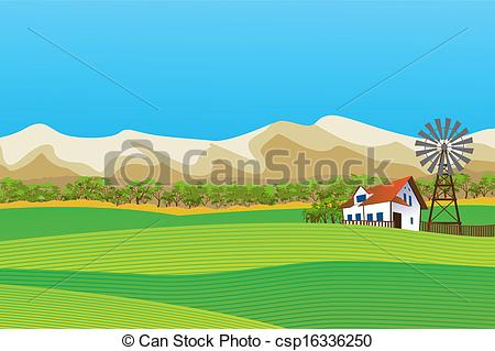 Rural clipart ranch Farm isolated Rural landscape Clipart