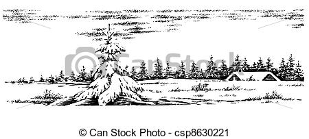 Scenery clipart line drawing #4