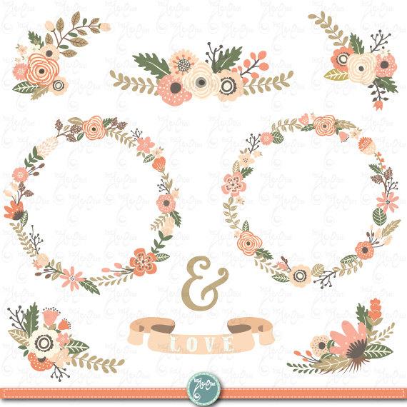 Rustic clipart Flowers Wreath clip Wreath art