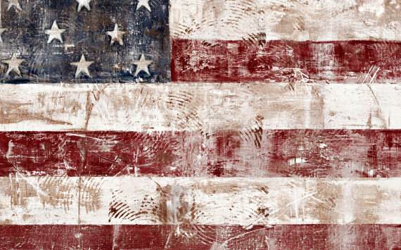 American Flag clipart rustic Canvas Ivory Red Wrapped Ivory
