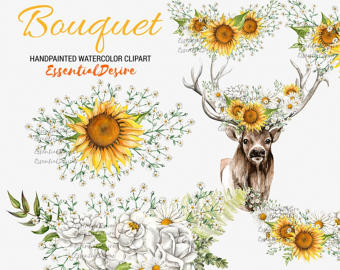 Rustic clipart daisy Flowers Deer deer White Wedding