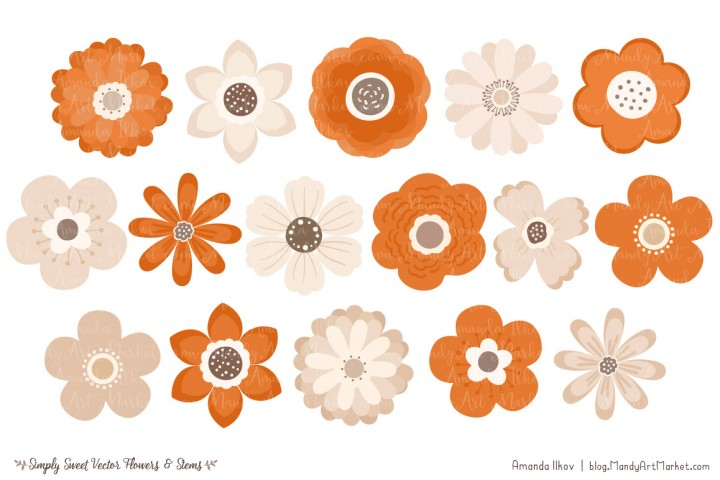 Rustic clipart daisy By & and MoreVector green