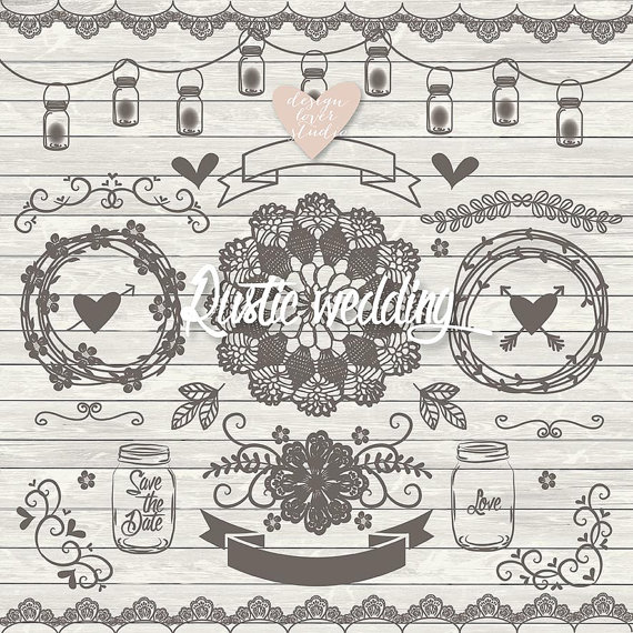Rustic clipart line Wreath Wedding similar VECTOR clipart