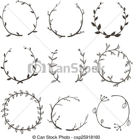 Rustic clipart line Laurel for  Wreath Rustic