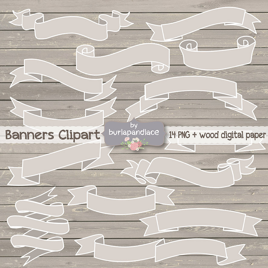 Wood clipart ribbon Like this banner item? Rustic